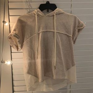 Mesh and tan crop top hoodie!